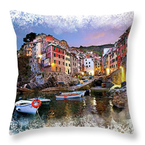 Italy Throw Pillow featuring the digital art Cinqueterre by Karl Knox Images