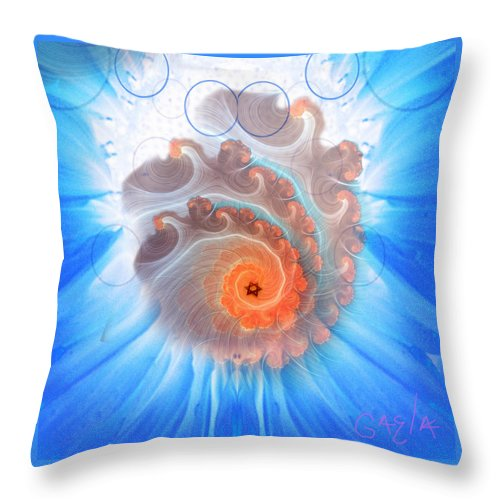 Digital Throw Pillow featuring the digital art Circle Fire Blue by Gaela Cohen