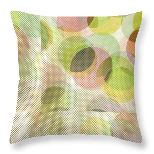 Abstract Throw Pillow featuring the digital art Circle Pattern Overlay by Ruth Palmer
