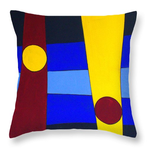 Abstract Throw Pillow featuring the painting Circles Lines Color by J R Seymour