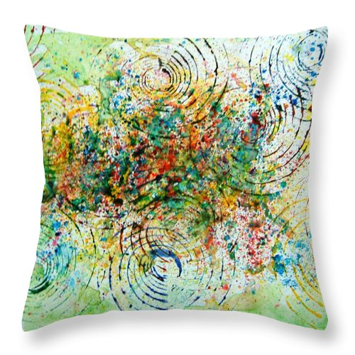 Abstract Yupo Paper Circles Green Red Yellow Blue Modern Pop Unique Landscape Throw Pillow featuring the photograph Circles of Life by Manjiri Kanvinde
