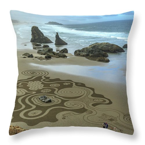 Bandon Throw Pillow featuring the photograph Circles Of Sand 2 by George Herbert
