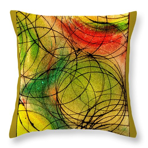 Abstract Throw Pillow featuring the painting Circles by Wayne Potrafka