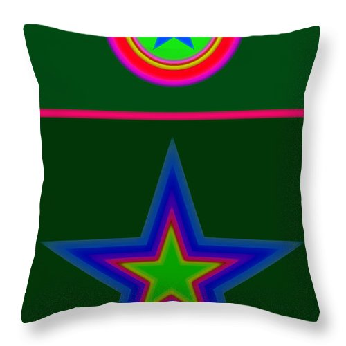 Circus Throw Pillow featuring the digital art Circus Green by Charles Stuart