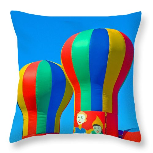 Pillow; Sky; Circus; Carnival; Country; Fair; Ball; Balloon; Colors; Colorful; Bounce; House; Castle Throw Pillow featuring the photograph Circus In The Sky - Three by Allan Hughes