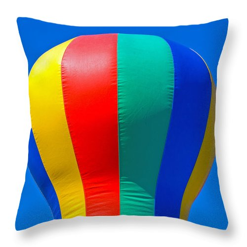 Red; Green; Yellow; Blue; Pillow; Sky; Circus; Carnival; Country; Fair; Ball; Balloon; Colors; Color Throw Pillow featuring the photograph Circus In The Sky - Two by Allan Hughes