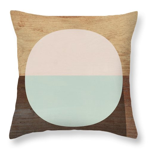 Modern Throw Pillow featuring the mixed media Cirkel in Peach and Mint- Art by Linda Woods by Linda Woods