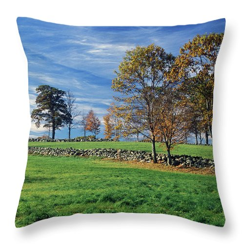 Farm Throw Pillow featuring the photograph Cirrus Clouds Over Farm Fields by John Burk