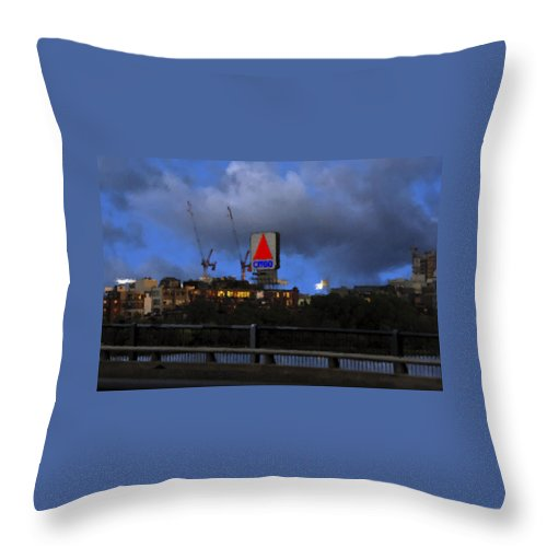 Citgo Sign Throw Pillow featuring the digital art Citgo Sign by Edward Cardini