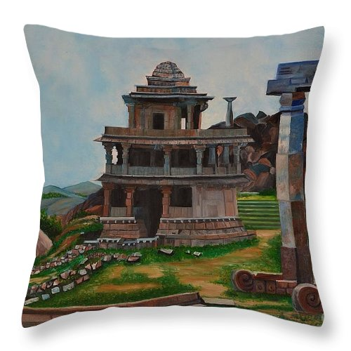 Landscape Throw Pillow featuring the painting Cithradurga Fort by Usha Rai