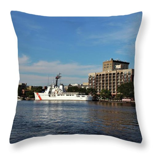 Port City Throw Pillow featuring the photograph City Across The River by Cynthia Guinn