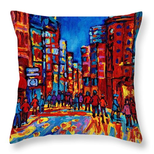 Montreal Throw Pillow featuring the painting City After The Rain by Carole Spandau