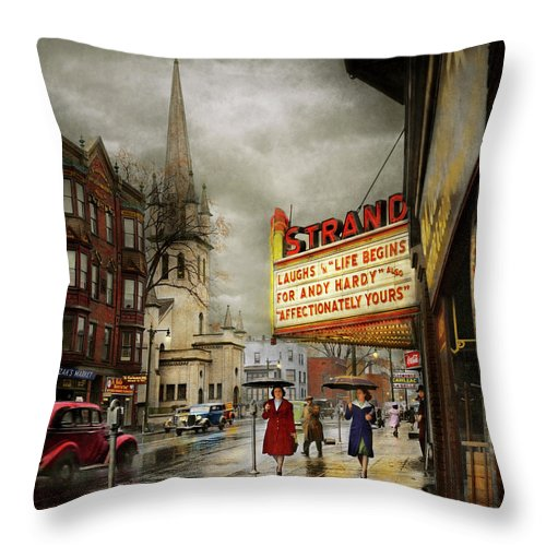 Amsterdam Ny Throw Pillow featuring the photograph City - Amsterdam Ny - Life Begins 1941 by Mike Savad