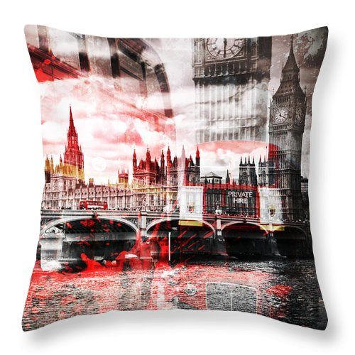 British Throw Pillow featuring the photograph City-art London Red Bus Composing by Melanie Viola