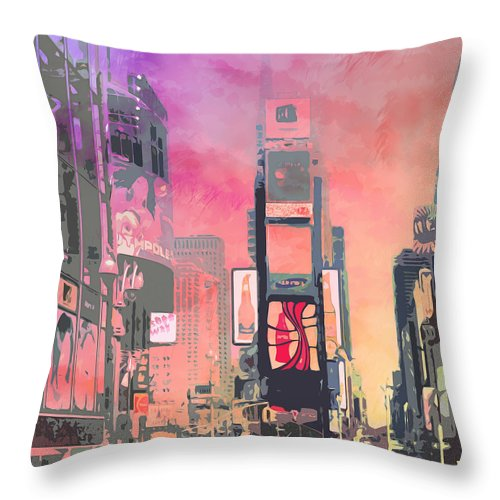 Usa Throw Pillow featuring the digital art City-art Ny Times Square by Melanie Viola