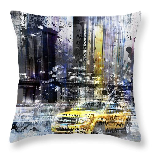 7th Throw Pillow featuring the photograph City-art Nyc Collage by Melanie Viola