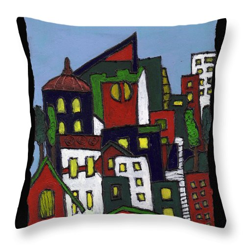 City Throw Pillow featuring the painting City At Christmas by Wayne Potrafka