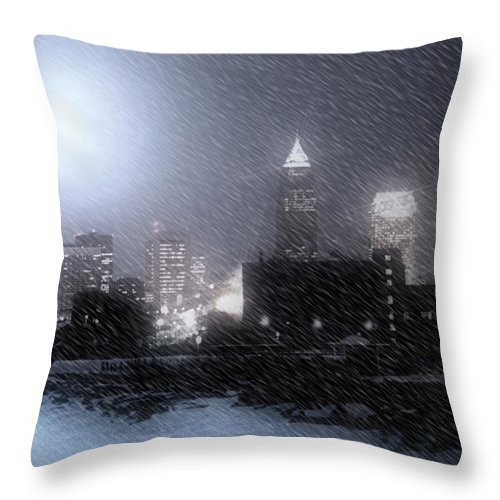 Cleveland Throw Pillow featuring the photograph City Bathed In Winter by Kenneth Krolikowski