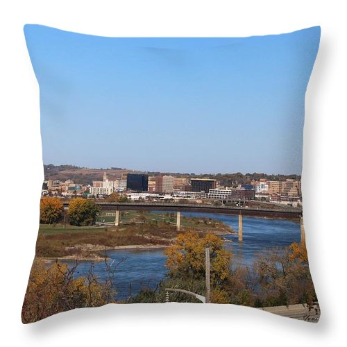 River Throw Pillow featuring the photograph City By The River by Yumi Johnson