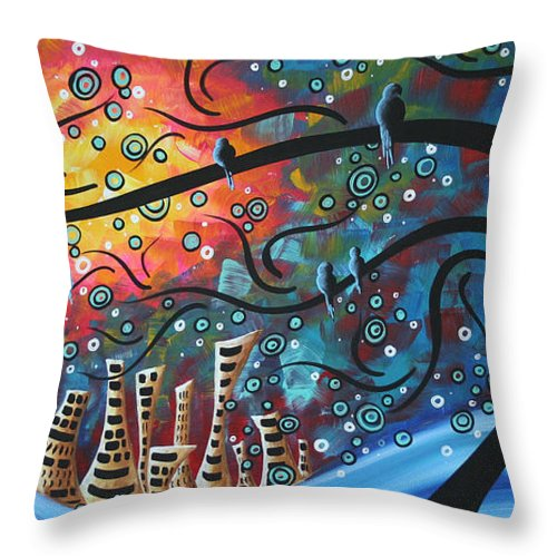 Art Throw Pillow featuring the painting City By The Sea By Madart by Megan Duncanson