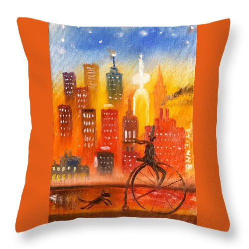 Oil Painting Throw Pillow featuring the painting City Cycle In The Warm Evening by Jason Etienne