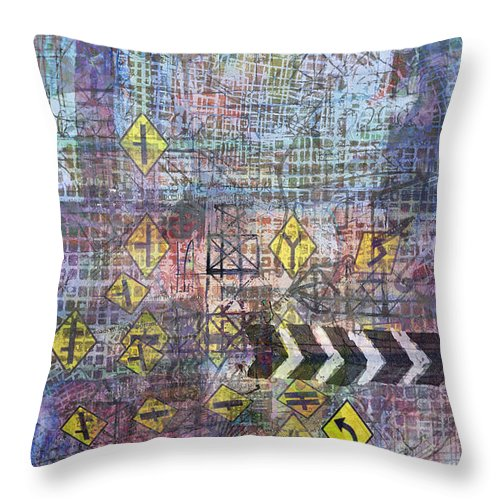 City Throw Pillow featuring the digital art City Doodle 5 by Andy Mercer
