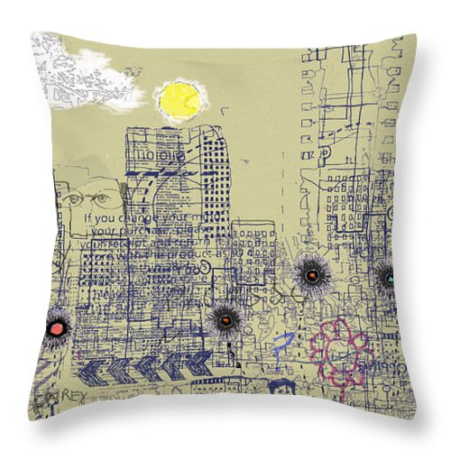 City Garden Throw Pillow featuring the digital art City Garden 4 by Andy Mercer