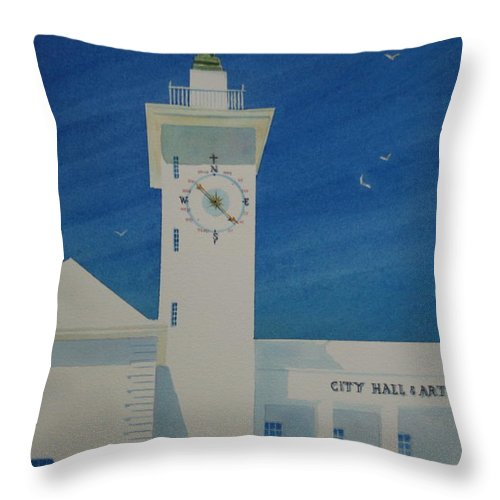 Bermuda Throw Pillow featuring the painting City Hall And Arts Building Bermuda by Tom Harris