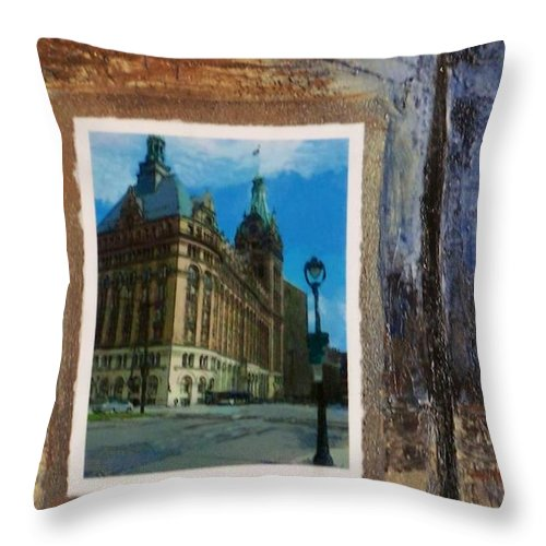 City Hall Throw Pillow featuring the mixed media City Hall And Street Lamp by Anita Burgermeister