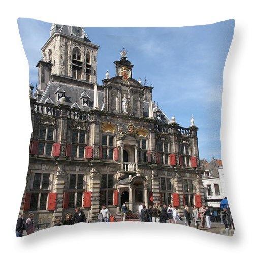 City Hall Throw Pillow featuring the photograph City Hall - Delft - Netherlands by Christiane Schulze Art And Photography