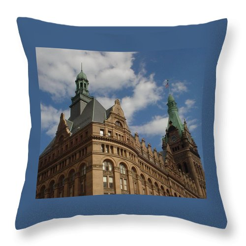 Milwaukee Throw Pillow featuring the photograph City Hall Roof And Tower by Anita Burgermeister