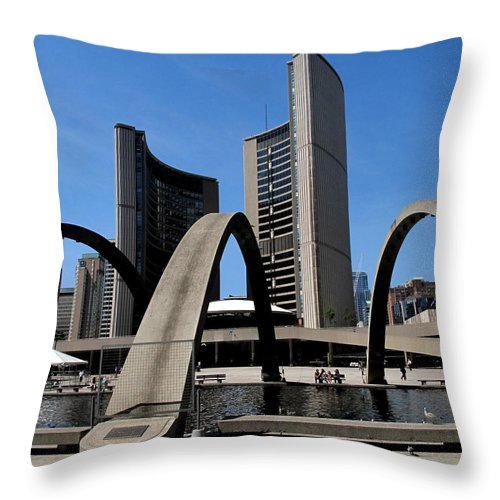 Toronto Throw Pillow featuring the photograph City Halll Arches by Ian MacDonald