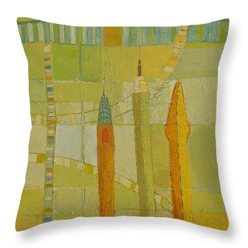 Nyc Throw Pillow featuring the painting City Icons by Habib Ayat