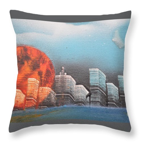 City Throw Pillow featuring the painting City In The Day. by Zack Anderson