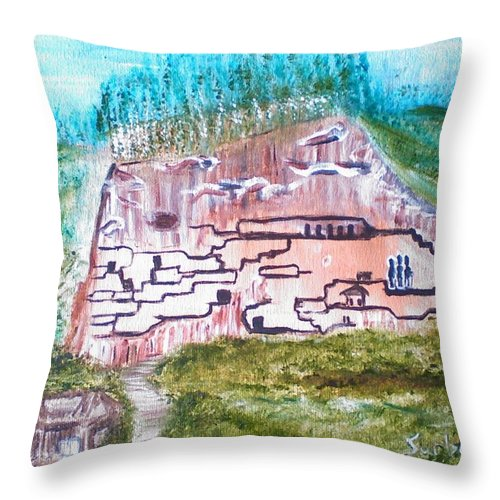 City Throw Pillow featuring the painting City In The Wall by Suzanne Surber