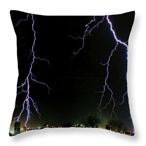 Arizona Throw Pillow featuring the photograph City Lights by Cathy Franklin