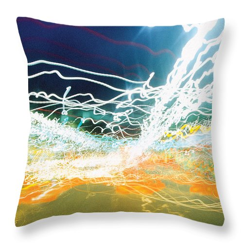 Abstract Throw Pillow featuring the photograph City Lights Chaos by Steve Somerville