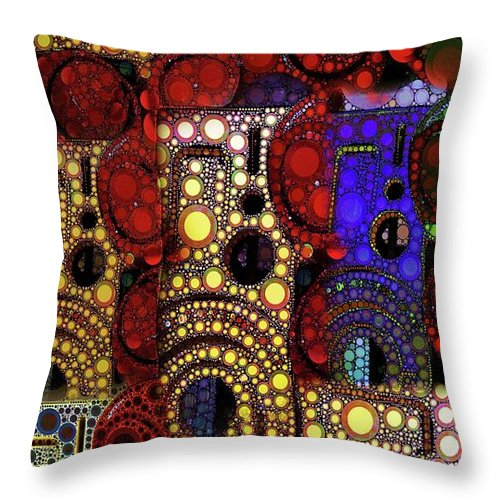 Abstract Throw Pillow featuring the digital art City Lights by Ron Bissett