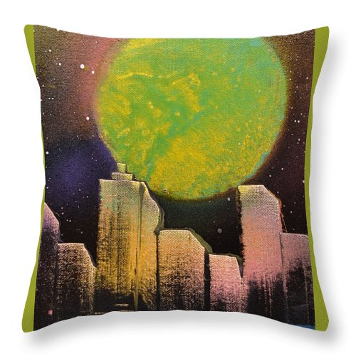 City Throw Pillow featuring the painting City Lights by Zack Anderson