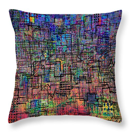 City Lines Throw Pillow featuring the digital art City Lines V by Andy Mercer