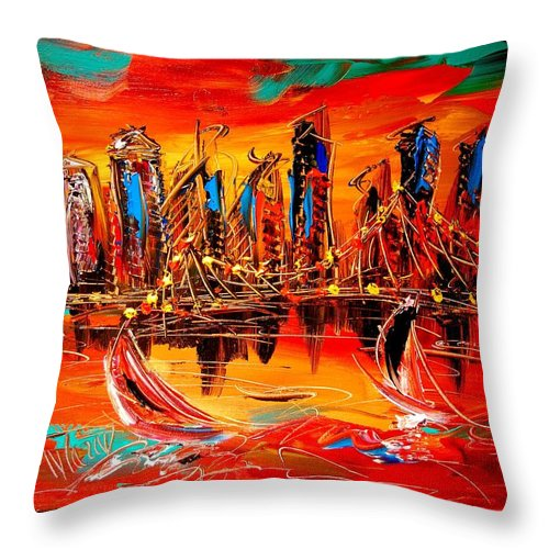 Red Poppies Throw Pillow featuring the painting City by Mark Kazav