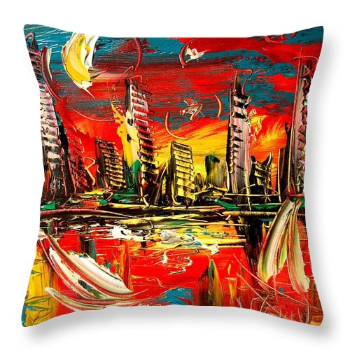 Red Poppies Throw Pillow featuring the painting City Moon by Mark Kazav