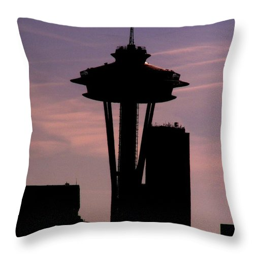Seattle Throw Pillow featuring the digital art City Needle by Tim Allen