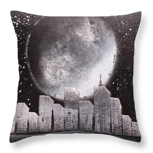 City Throw Pillow featuring the painting City Night Scape by Zack Anderson