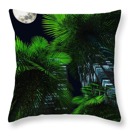 Tropics Throw Pillow featuring the digital art City Nights by Richard Rizzo