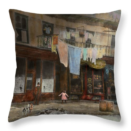 Self Throw Pillow featuring the photograph City - Ny - Elegant Apartments - 1912 by Mike Savad