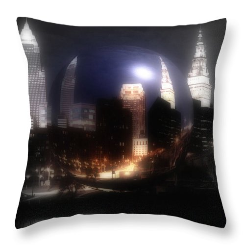 Cleveland Throw Pillow featuring the photograph City On The North Coast by Kenneth Krolikowski