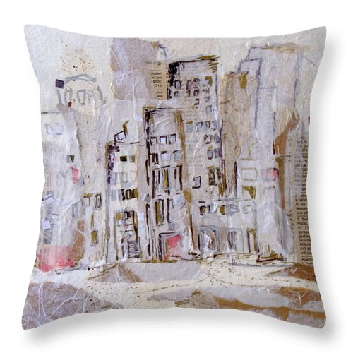 City Throw Pillow featuring the mixed media City On The River by Susie Stockholm