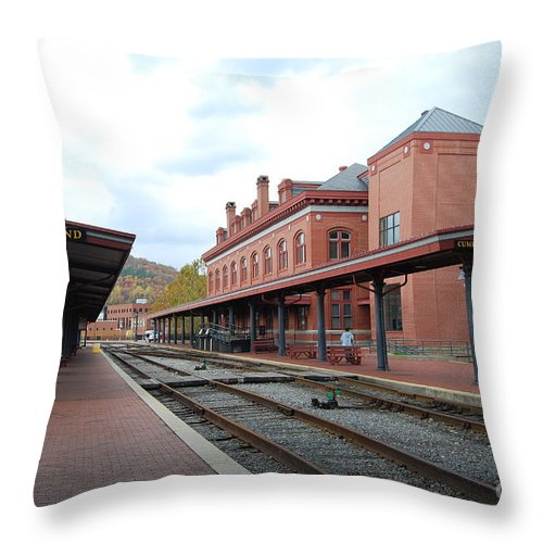 Historic Throw Pillow featuring the photograph Cumberland City Station by Eric Liller