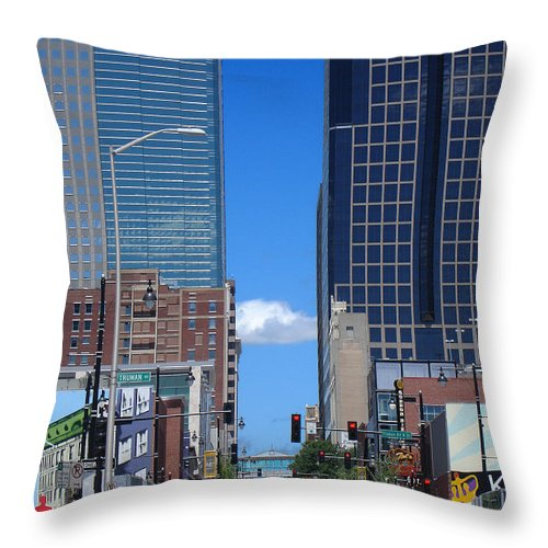 Kansas City Throw Pillow featuring the photograph City Street Canyon by Steve Karol